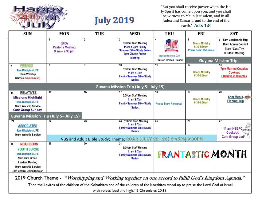 July 2019 revised calendar