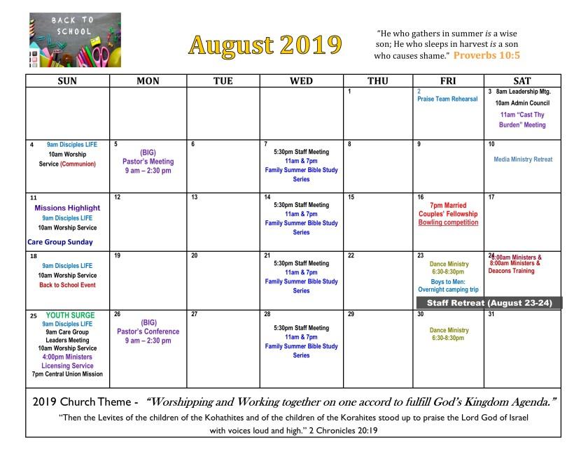 August 2019 Calendar revised
