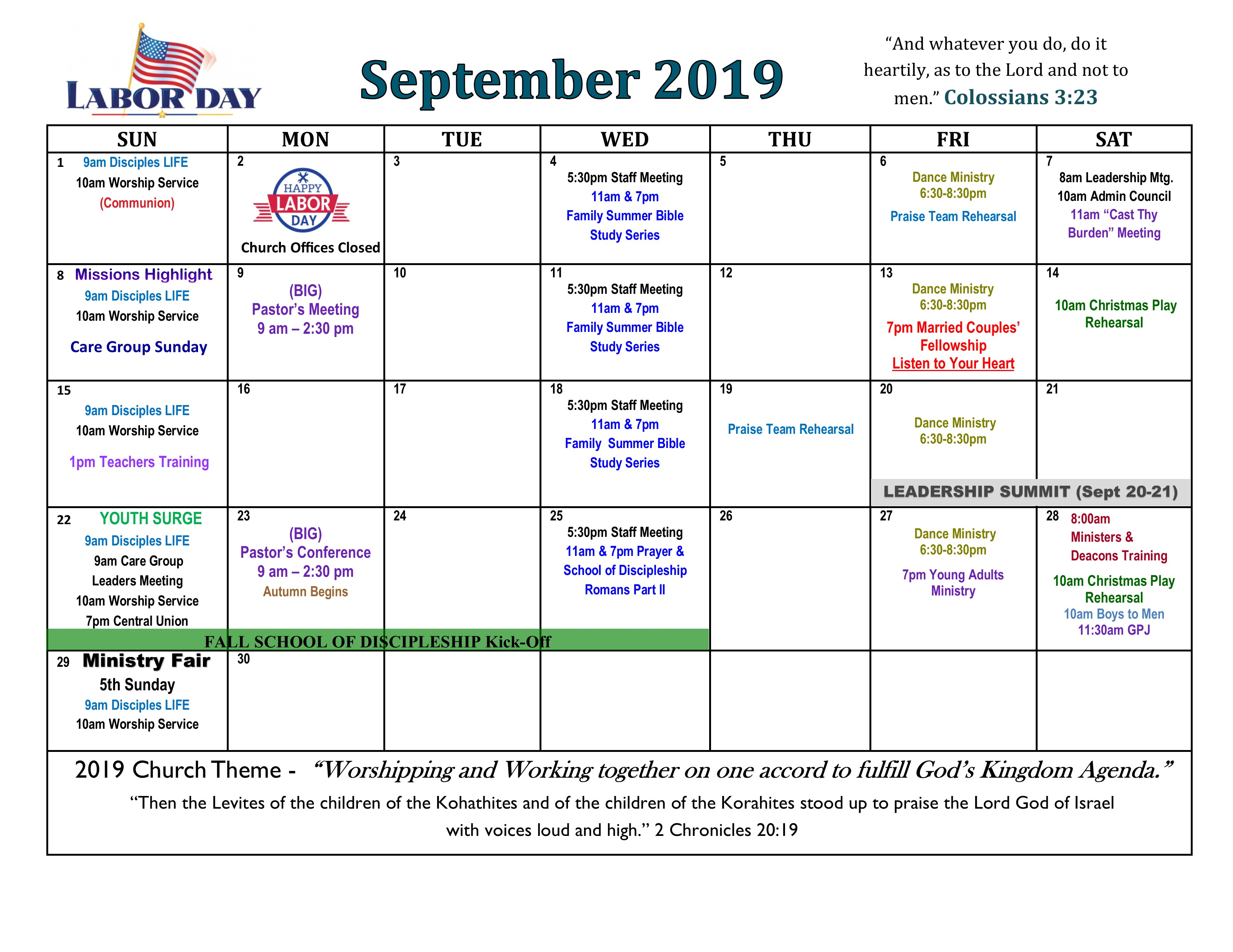 Calendar – New Song Church & Ministries