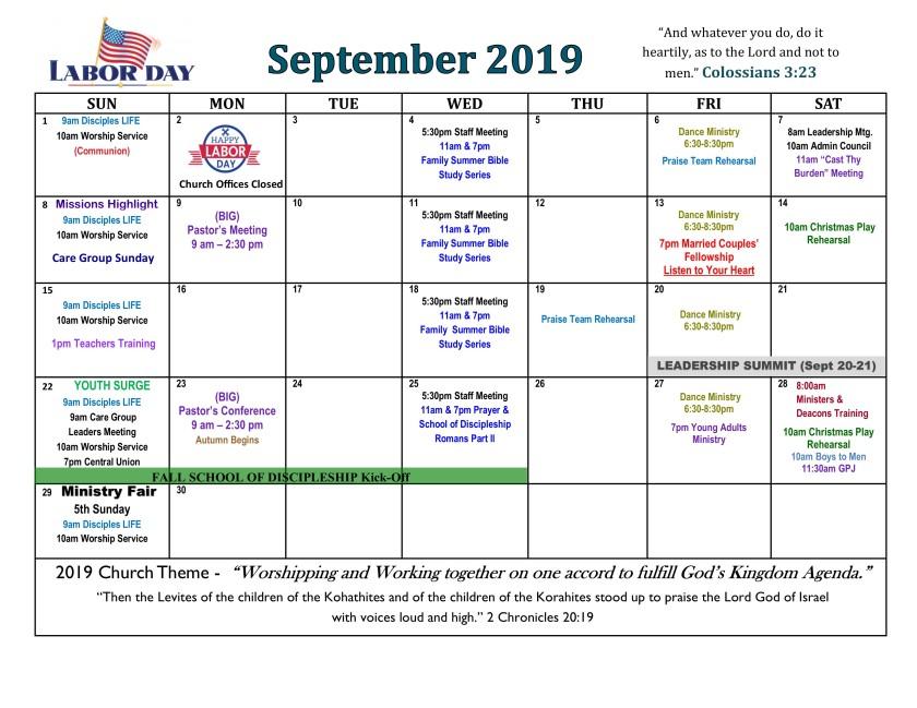 September 2019 Calendar revised