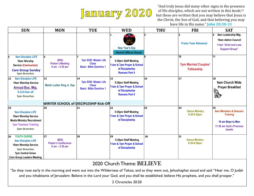 2019 January Calendar 3