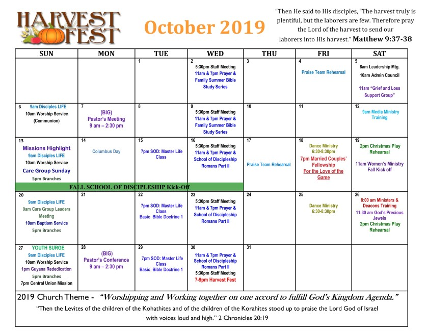 2019 October Calendar 3
